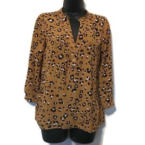 Zara Basics Mustard Animal Print Blouse Short Sz S